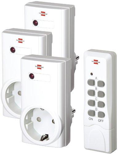 Brennenstuhl Funkschalt-Set RCS 1000 N Comfort, 3er Funksteckdosen Set (mit Handsender und Kindersicherung) Farbe: weiß