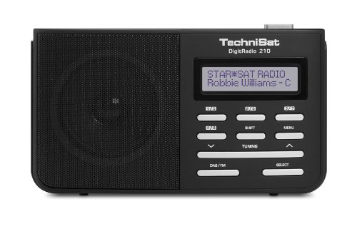 TechniSat DIGITRADIO 210 / Digital-Radio, tragbar, DAB+, UKW, zweizeiliges LCD-Display, Teleskopantenne, Kopfhöreranschluss, Favoritenspeicher, Netzteil, schwarz