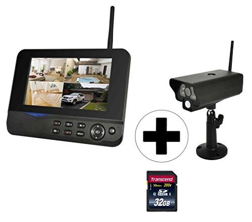 COMAG Digitales Kamera Funk-Überwachungs-Set (7 Zoll TFT Monitor, kabellos, Nachtsicht (Infrarotkamera), erweiterbar bis 4 Kameras, bis zu 300 m, Aufnahmefunktion, USB 2.0 für externe Festplatte bis 1TB) Komplett-Set 1x Indoor/Outdoor Kamera + 1x Monitor + 1x 32GB SD-Speicherkarte