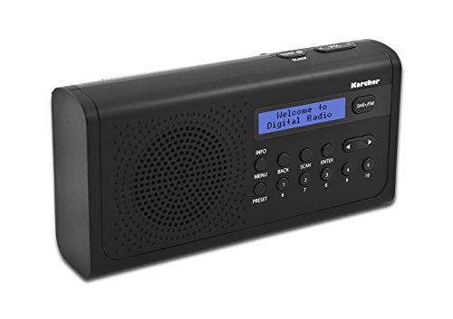 Karcher DAB 2405 tragbares Digitalradio (DAB+ / UKW Radio, Wecker, LCD-Display, Netz/Batteriebetrieb) schwarz