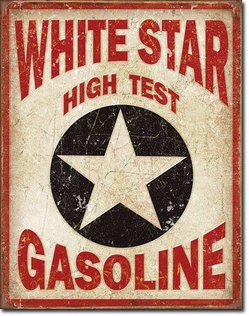 Unbekannt White Star Gasoline Blechschild Flach 31x40cm S4270