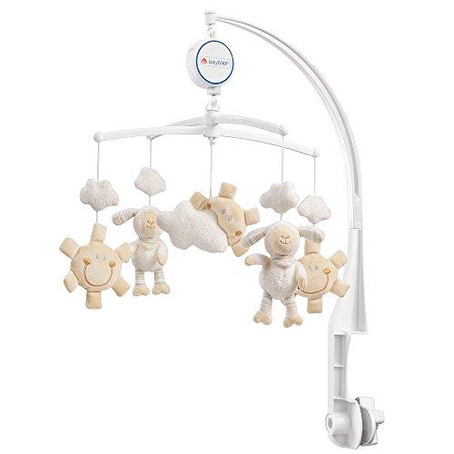 Fehn 154610 Musik-Mobile Schaf – Spieluhr-Mobile mit niedlichen Schafen, Sonnen & Wolken zum Lauschen & Staunen – Zum Befestigen am Bett für Babys von 0-5 Monaten – Höhe: 65 cm, ø 40 cm
