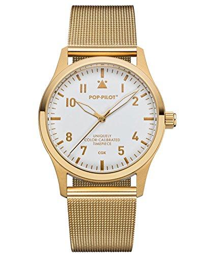 Pop Pilot Damen Analog Quarz Uhr mit Edelstahl Armband CGK