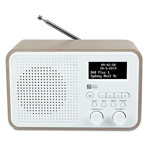 Ocean Digital DB332 DAB/DAB + / FM-Radio mit Lautsprecher, AUX-IN, Audio Out, Kopfhöreranschluss, bis zu 40 voreingestellten Sendern, Holzgehäuse (Nussbaum)