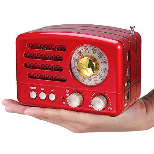PRUNUS Klassisches Retro-Holz Design UKW FM AM(MW) SW SD USB MP3 Bluetooth Transistor Laderadio mit Lautsprecher, unterstützt AUX-Funktion, 270° großes Kompass Tuning Fenster. (Rot)