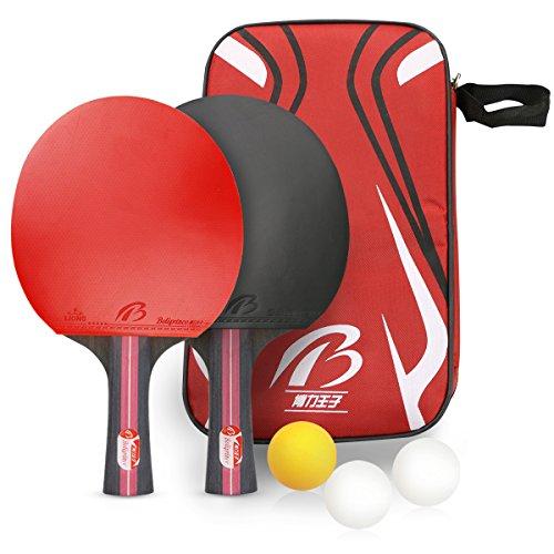 Tencoz Tischtennis-Set, Tischtennisschläger Tischtennis Schläger Ping-Pong-Set Trainings Tischtennis Schläger Set Tischtennis-Schläger + Tischtennis-Bälle + Tragbare Tasche
