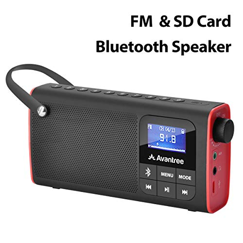 Avantree 3 in 1 Portable Tragbares FM Radio, Klein Mini Radio mit Bluetooth Lautsprecher, SD Card MP3 Player mit Akku, Auto Scan Save, LED Display, Batteriebetrieben - SP850